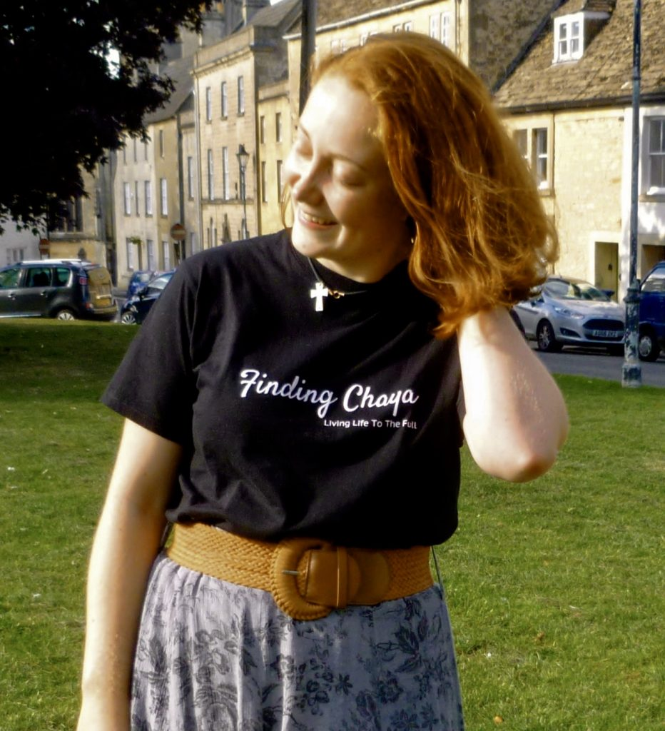 Chaya Creates Black T-shirt saying Finding Chaya: Living Life to the Full