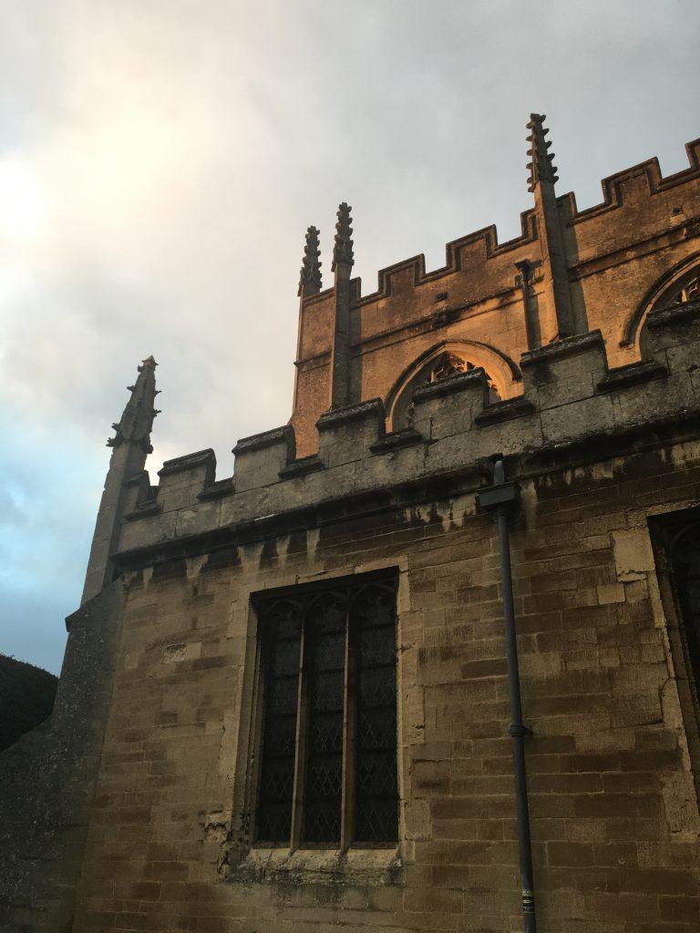 Church on a cloudy day as the sun tries to break through
